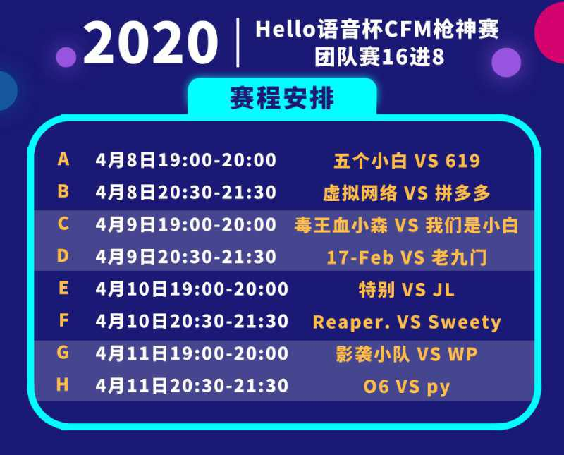CFM:Hello语音杯火热进行,团队16强淘汰赛正式开打
