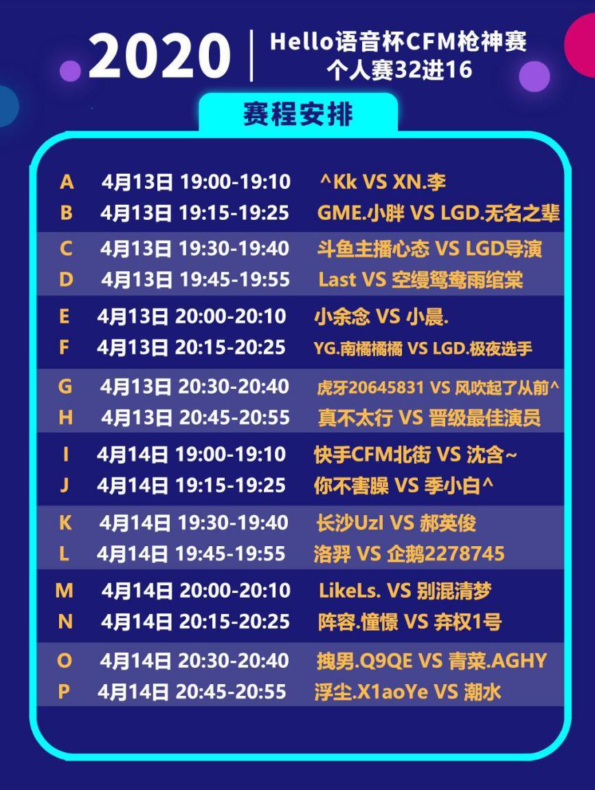 CFM:Hello语音杯战火仍在继续,个人赛32强劲爆开赛